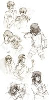 Percy Jackson Sketches by SixofClovers