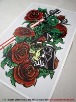 Darth Vader Skull and Roses by DoomCMYK