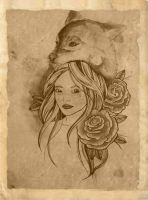 Wolf lady tattoo design by ziuuziuu
