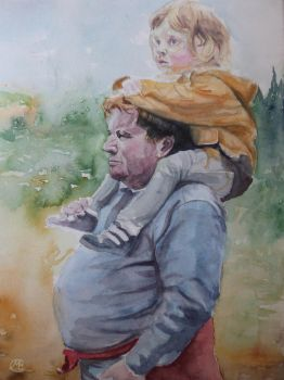 Fatherdaughter Watercolour by embrand78