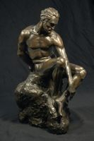 Sitting Man - Bronze - view 1 by dpeteuil
