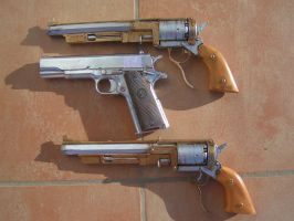 a colt and two bio shock guns commission builds by faustus70