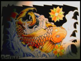 Koi fish - Ink-Color by Antilef