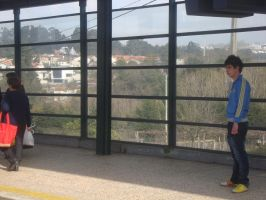 Boy Waiting on Trains by Lusitana-Stock