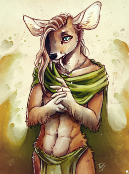 Timid Water Deer - Sketch by TasDraws