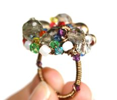 Rainbow Cluster Wire Ring by FranyaBlue