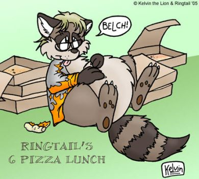 Ringtail Raccoon's Pizza Lunch by KelvinTheLion