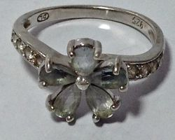 Vintage Silver Faux Aquamarine Flower Ring by sevvysgirl