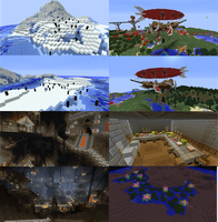 Minecraft: Penguins, Airship, Forge city, lily pad by lunchbox1234