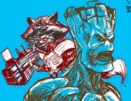 Rocket + Groot by reptiliandemon