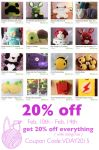 Get 20% off everything in my Etsy shop! by theyarnbunny