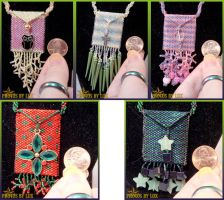 Peyote Stitched Pouch Necklaces by kuroitenshi13