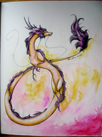 Yellow and pinkish dragon by Nuzma
