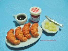 Dollhouse Miniature Croissants n Strawberry Jam by ilovelittlethings