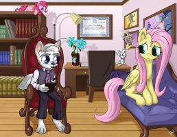 Fluttershy's Therapy Visit by Starbat