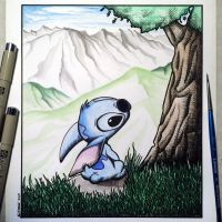 Stitch Drawing - Watercolour and Crosshatch by LethalChris