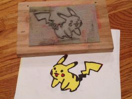 Pikachu Linoleum by TheLoserSociety