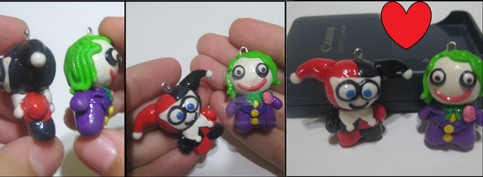 polymer clay charms chibis joker and harley by patito15