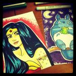 Wonder Woman and Totoro by khallion
