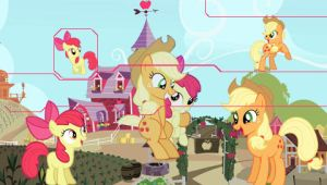 Applejack and Apple Bloom PSP Wallpaper by Hidan475