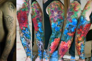 flowers sleeve tattoo by NikaSamarina
