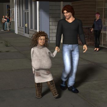Anya and Adrian are walking hand in hand by hades1977