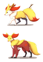 Braixen and Delphox by Chiakiro