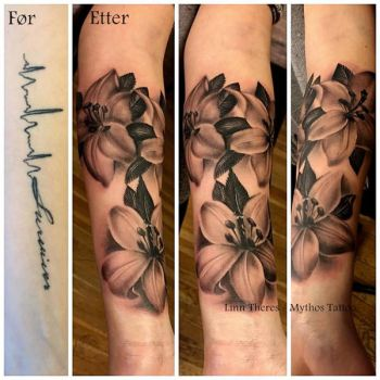 Cover up lettering with lilys by Mythos-Tattoo