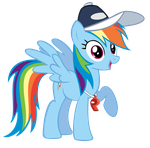 Rainbow Dash with whistle and hat by tckotb
