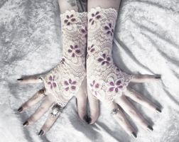 Teagan Lace Fingerless Gloves by ZenAndCoffee