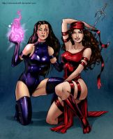 Psylocke and Elektra by Salamandra88