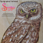 Owl Pyrograph (Wood Burning) Pocket Notebook Zoom by snazzie-designz