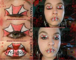Umbrella Corporation Inspired Makeup by Shadow-rulz