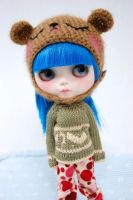 She's so happy about her cute bear helmet~ by Miema-Dollhouse