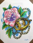 Time Turner and Rose by ChrisMorrisTattoos