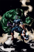 Captain America and Hulk by MarcBourcier