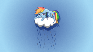 Rainbow Dash Wallpaper (on a cloud) by JeremiS