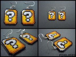 Question Mark Block Earrings by Pixelosis