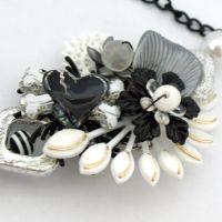 Black Hearted Collaged Necklac by AndyGlamasaurus