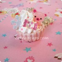 Pink Winter Bear Necklace by CatNapCaps