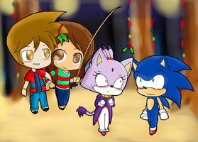 Collab- Criso and Daisy with Sonic and Blaze by DarkraDx