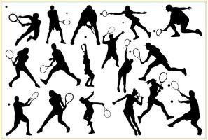 17 Tennis Silhouette Photoshop Brushes by Jiangsir
