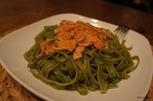 Tagliatelle with salmon by Power-Barbie