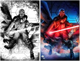 DARTH VADER B/W and Color by HedwinZ89