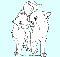 Young Love Free Cat Lineart by Tesseri-Shira