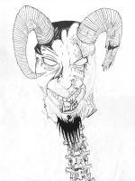 Satan Decapitated Sketch and Ink by JesseAllshouse