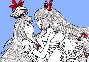 Gensoukyo Love II: Mokou and Keine by Tres-Iques