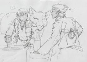 Two Drow walk into a Bar by xaotl