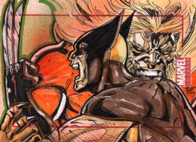 Wolverine vs Sabretooth Marvel Universe sketchcard by JASONS21