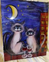 Needle Felted painting Cats by WoolArtToys